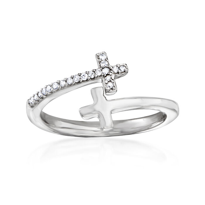 .10 ct. t.w. Diamond Bypass Cross Ring in Sterling Silver