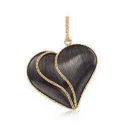 Italian Black Ruthenium-Plated 14kt Yellow Gold Heart Pendant, , default