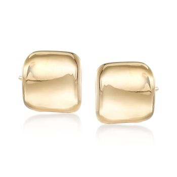14kt Yellow Gold Curved Square Stud Earrings , , default