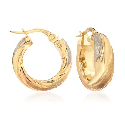 14kt Tri-Colored Gold Brushed and Polished Twist Hoop Earrings, , default