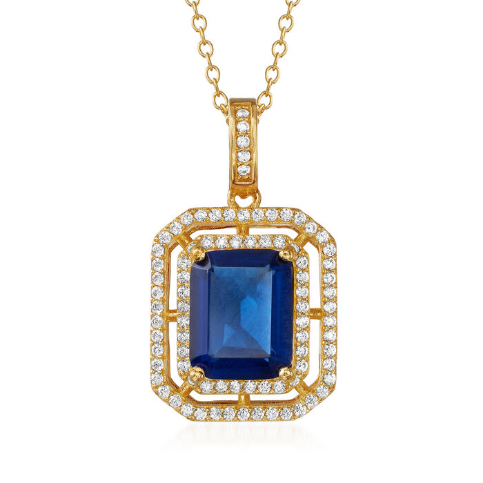 "4.00 Carat Simulated Sapphire and .40 ct. t.w. CZ Pendant Necklace in 18kt Gold Over Sterling. 18"", , default"
