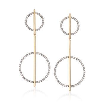 1.00 ct. t.w. Diamond Geometric Drop Earrings in 14kt Yellow Gold, , default
