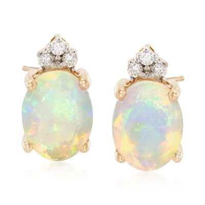 Opal Earrings with Diamond Accents in 14kt Yellow Gold, , default