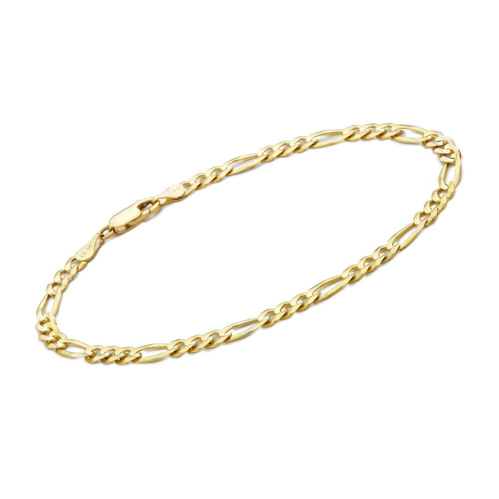 Men S 3 8mm 14kt Yellow Gold Figaro Chain Bracelet