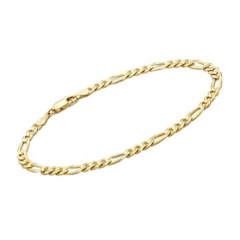 "Men's 3.8mm 14kt Yellow Gold Figaro Chain Bracelet. 8"", , default"