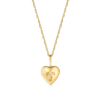 Child's 14kt Yellow Gold Heart and Cross Pendant Necklace, , default