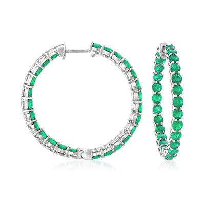 4.20 ct. t.w. Emerald Inside-Outside Hoop Earrings in 18kt White Gold, , default