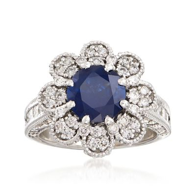 C. 2000 Vintage 2.00 Carat Sapphire and 1.80 ct. t.w. Diamond Floral Ring in 14kt White Gold, , default