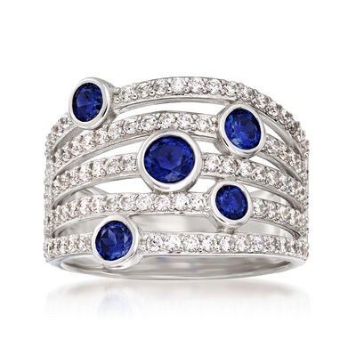 .62 ct. t.w. Simulated Sapphire and .80 ct. t.w. CZ Multi-Row Ring in Sterling Silver, , default