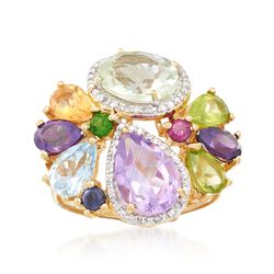 6.75 ct. t.w. Multi-Stone Ring With .19 ct. t.w. Diamond in 18kt Yellow Gold Over Sterling Silver. Size 8, , default