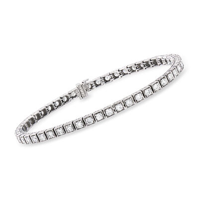C. 1990 Vintage 3.80 ct. t.w. Diamond Tennis Bracelet in 14kt White Gold