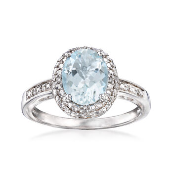 1.50 Carat Aquamarine Ring With Diamonds in Sterling Silver, , default