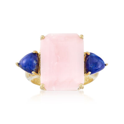 Pink Opal and Lapis Ring in 18kt Yellow Gold Over Sterling, , default