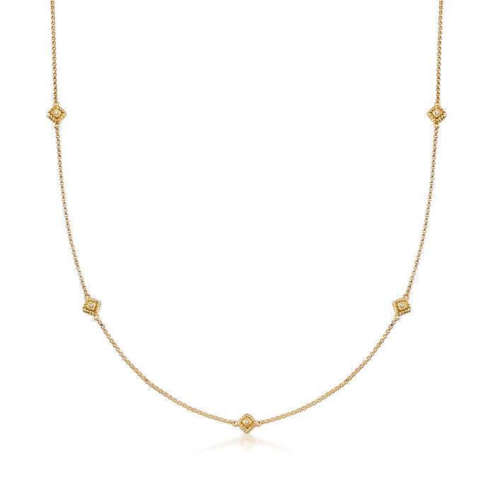 """Roberto Coin """"Palazzo Ducale"""" Station Necklace with Diamond Accents in 18kt Yellow Gold"""