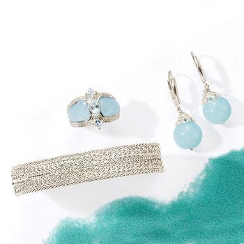 20.00 ct. t.w. Milky Aquamarine Drop Earrings in Sterling Silver, , default