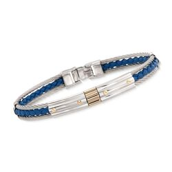 ALOR Men's Stainless Steel Cable and Blue Leather Bracelet With 18kt Gold, , default
