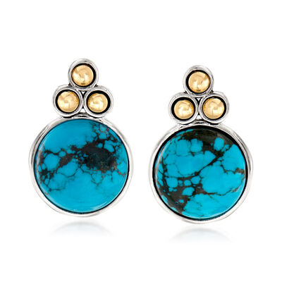 Turquoise Earrings in Sterling Silver and 14kt Yellow Gold