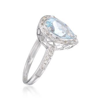 1.50 Carat Aquamarine and .10 ct. t.w. Diamond Ring in 14kt White Gold, , default