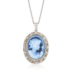 C. 2000 Vintage Carved Blue Agate and .20 ct. t.w. Diamond Pendant Necklace in 14kt White Gold, , default