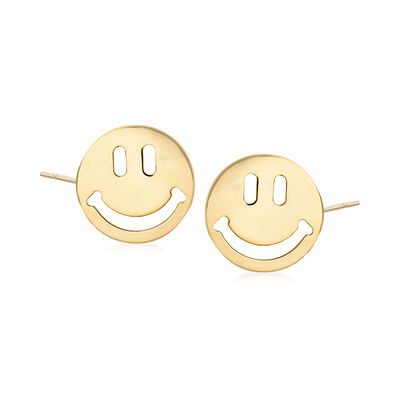 14kt Yellow Gold Smiley Face Stud Earrings, , default