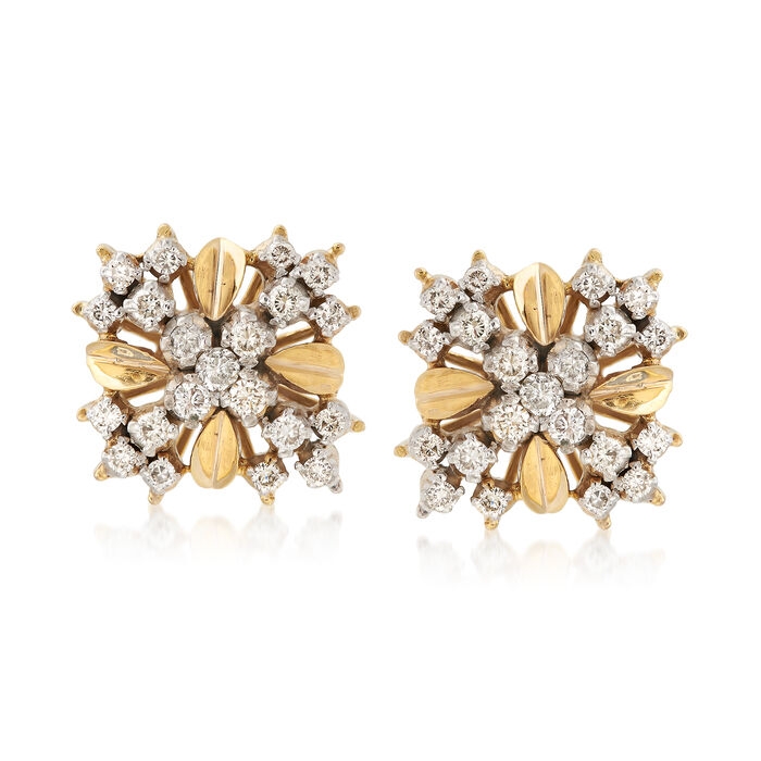 C. 1970 Vintage .90 ct. t.w. Diamond Crisscross Earrings in 14kt Yellow Gold