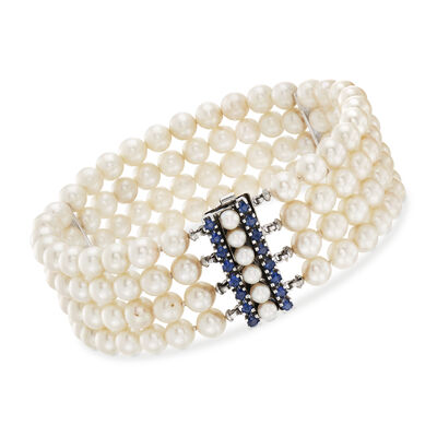 C. 1970 Vintage Multi-Row Pearl Bracelet With 2.25 ct. t.w. Sapphires in 14kt White Gold, , default