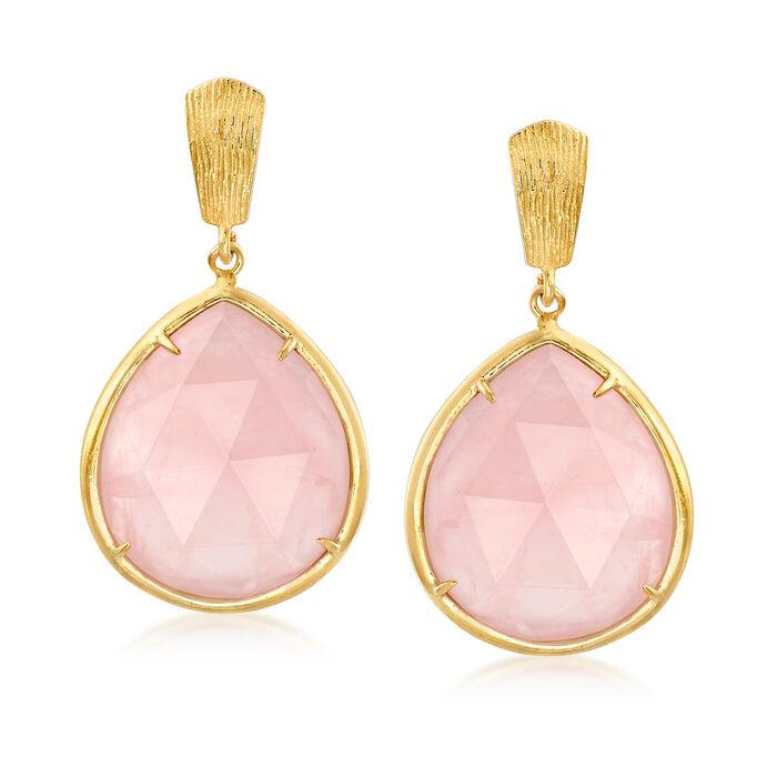 40.00 ct. t.w. Rose Quartz Drop Earrings in 18kt Gold Over Sterling