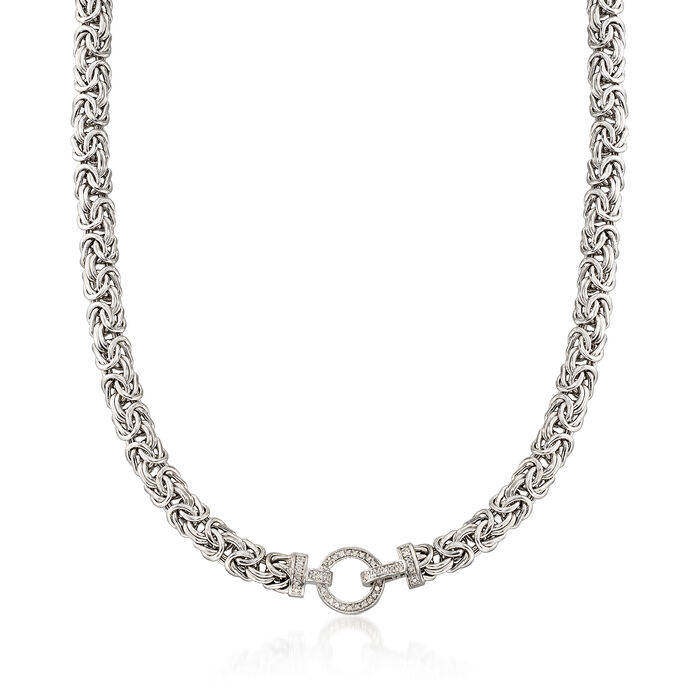 .30 ct. t.w. Diamond and Sterling Silver Byzantine Necklace, , default