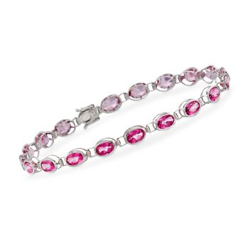 "7.50 ct. t.w. Pink Topaz Bracelet in 14kt White Gold. 7"", , default"