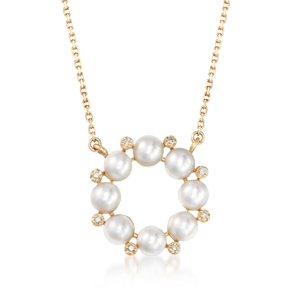 7613731d52c4f 4mm Cultured Pearl and Diamond Accent Wreath Necklace in 14kt Yellow ...