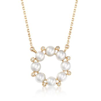 """4mm Cultured Pearl and Diamond Accent Wreath Necklace in 14kt Yellow Gold. 18"""", , default"""