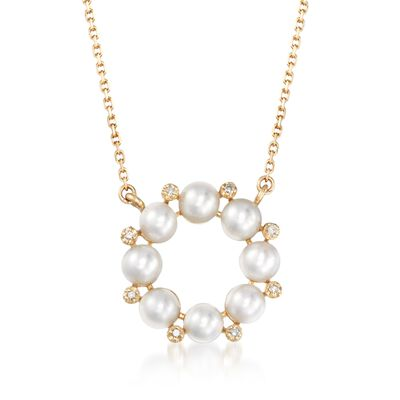 4mm Cultured Pearl and Diamond Accent Wreath Necklace in 14kt Yellow Gold, , default