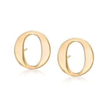 14kt Yellow Gold Over Sterling Silver Initial Stud Earrings, , default