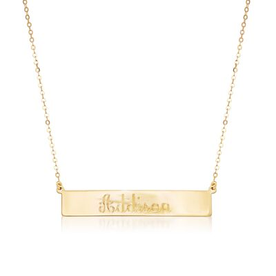 Italian 18kt Yellow Gold Name Bar Necklace, , default