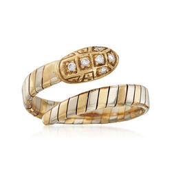 C. 1990 Vintage .15 ct. t.w. Diamond Snake Bypass Ring in 18kt Two-Tone Gold. Size 9, , default