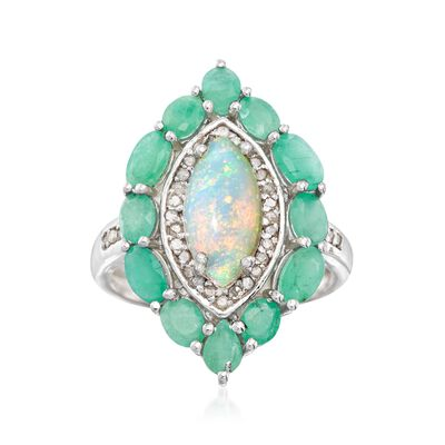 Opal and 1.80 ct. t.w. Emerald Marquise Ring with .17 ct. t.w. Diamonds in Sterling Silver, , default