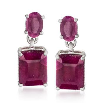 6.55 ct. t.w. Opaque Ruby Drop Earrings in Sterling Silver , , default