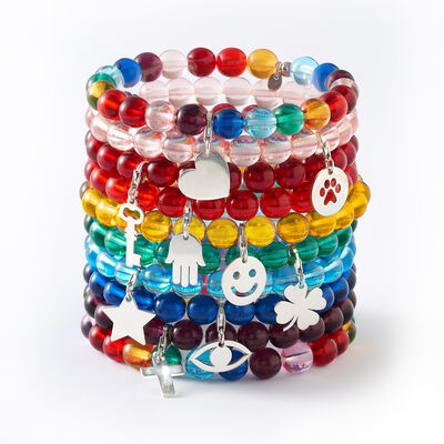 Your Choice: Italian Murano Glass Bead Stretch Bracelet with Sterling Silver Charm, , default