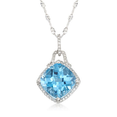 9.25 Carat Blue Topaz and .25 ct. t.w. Diamond Pendant in 14kt White Gold, , default