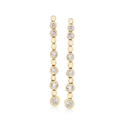 1.00 ct. t.w. Bezel-Set Diamond Linear Drop Earrings in 14kt Yellow Gold, , default