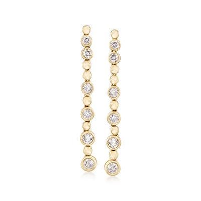 1.00 ct. t.w. Bezel-Set Diamond Linear Drop Earrings in 14kt Yellow Gold
