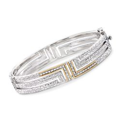 "Andrea Candela ""Labertino"" .15 ct. t.w. Diamond Bangle Bracelet in 18kt Gold and Sterling Silver. 7"", , default"