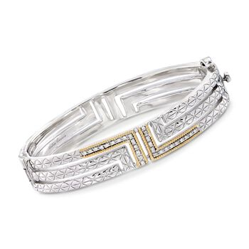 """Andrea Candela """"Labertino"""" .15 ct. t.w. Diamond Bangle Bracelet in 18kt Gold and Sterling Silver. 7"""", , default"""