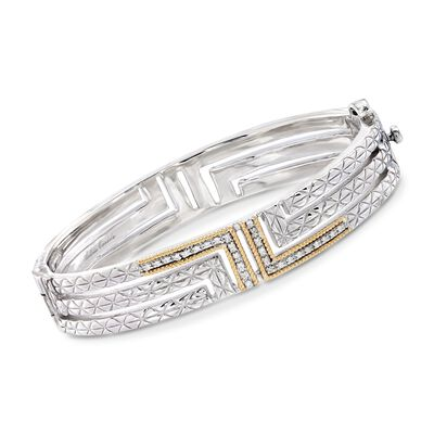 "Andrea Candela ""Laberinto"" .15 ct. t.w. Diamond Bangle Bracelet in 18kt Gold and Sterling Silver, , default"