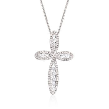 """Roberto Coin .79 ct. t.w. Diamond Open Cross Pendant Necklace in 18kt White Gold. 16"""", , default"""
