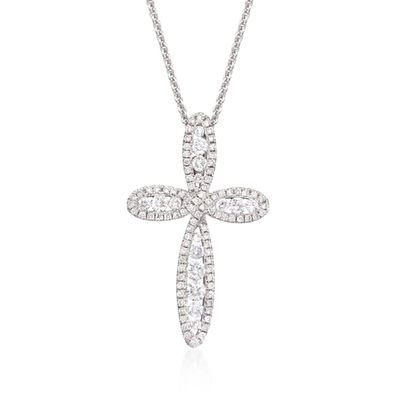 Roberto Coin .79 ct. t.w. Diamond Open Cross Pendant Necklace in 18kt White Gold, , default