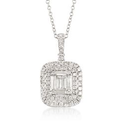 ".96 ct. t.w. Diamond Pendant Necklace in 18kt White Gold. 18"", , default"