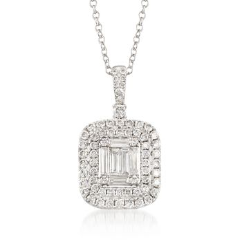 """.96 ct. t.w. Diamond Pendant Necklace in 18kt White Gold. 18"""", , default"""