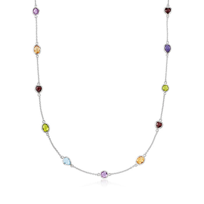 8.40 ct. t.w. Multi-Stone Station Necklace in Sterling Silver, , default