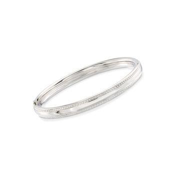 "Child's Sterling Silver Beaded Border Bangle Bracelet. 5"", , default"